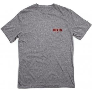 Brixton Cane Tee Heather Grey/Burgundy