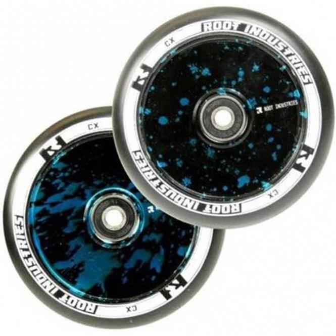 Root Industries Air Wheels - 110mm Black / Blue Splatter (PAIR)
