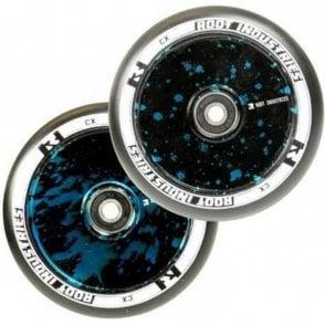 Air Wheels - 110mm Black / Blue Splatter (PAIR)