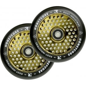 Root Industries Honeycore Wheels - 110mm Black / Gold Rush (PAIR)